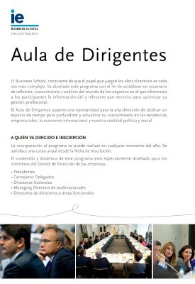 Folleto Aula de Dirigentes | IE Executive Education