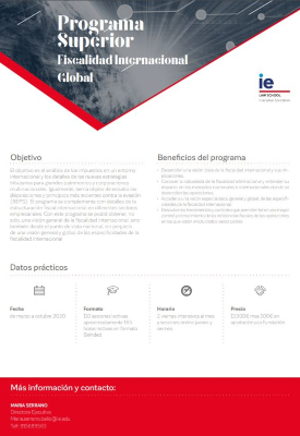 One Pager Programa Superior Fiscalidad Internacional Global | IE