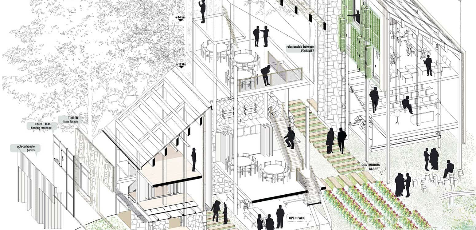 Axonometric - Into the Woods - Student Projects | IE School of Architecture and Design