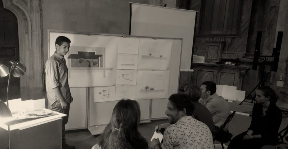 Haitam Daoudi in front of the final jury - Ebb and Flow - Student Porjects | IE School of Architecture and Design