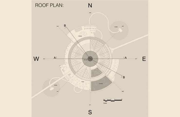 Roof Floor plan - Kiaoliang Shuilian - Student Porjects | IE School of Architecture and Design