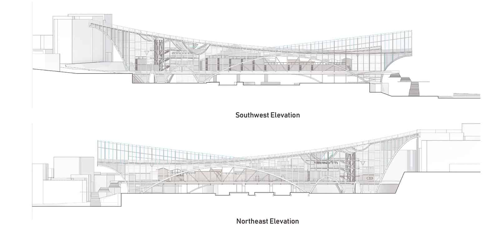 "Elevations - New Multipurpose Station ""Interface"" - Student Projects 