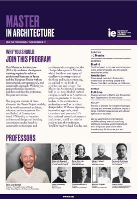 One Pager Master in Architecture | IE A&D