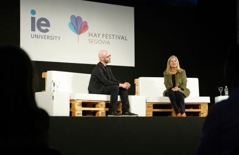 Dean Martha Thorne and Associate Dean David Goodman from IE School of Architecture and Design at IE University during the 2021 Hay Festival